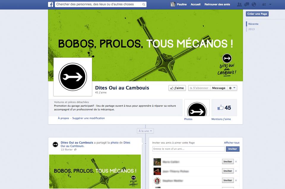 Page facebook Dites oui au cambouis !